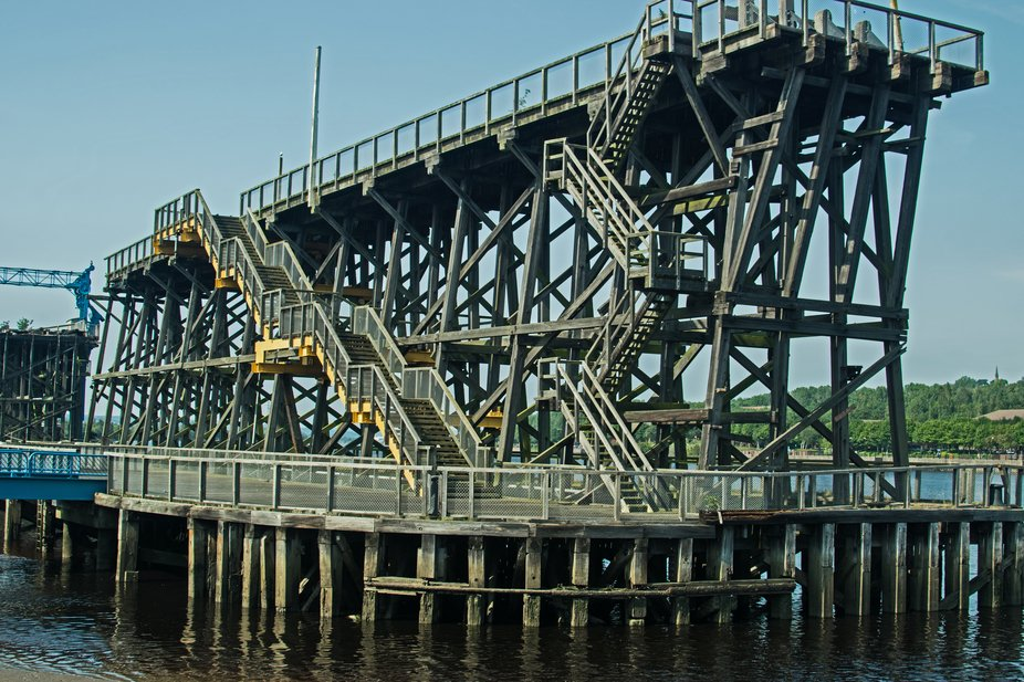 Dunston Coal staithes. Was one of the largest (if not largest } wooden structures in Europe. Now closed to the public due to arsonists.