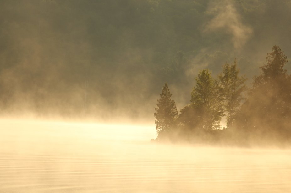 Taken during sunrise, as the mist was rising of the lake, on a hot mid-July summer morning.