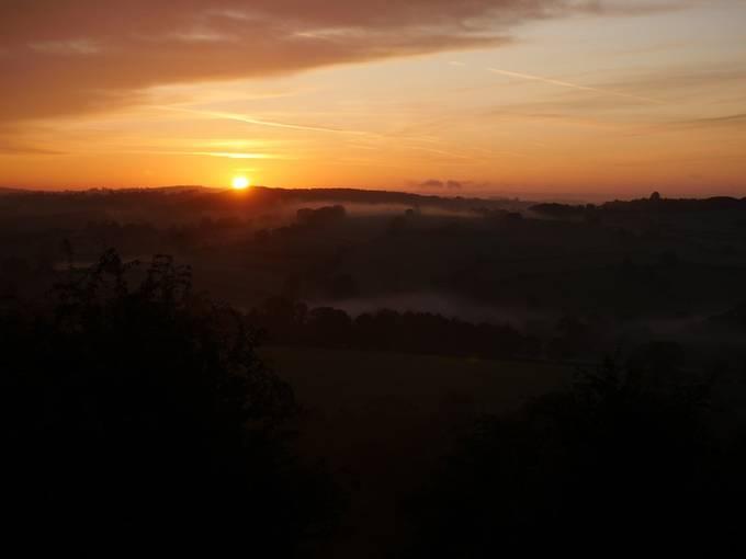 Sunrise over Derbyshire, England.