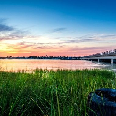 Cotton candy skies over the Swansboro Waterfront on the North Carolina coast.