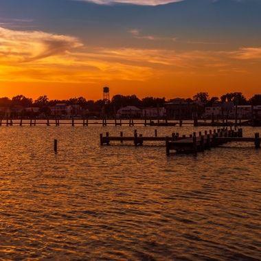 Golden hour on the Swansboro Waterfront on the North Carolina coast.