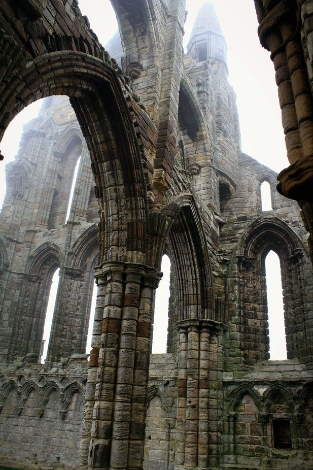 One of my most favourite places! Whitby Abbey, North Yorkshire! Under a heavy mist...