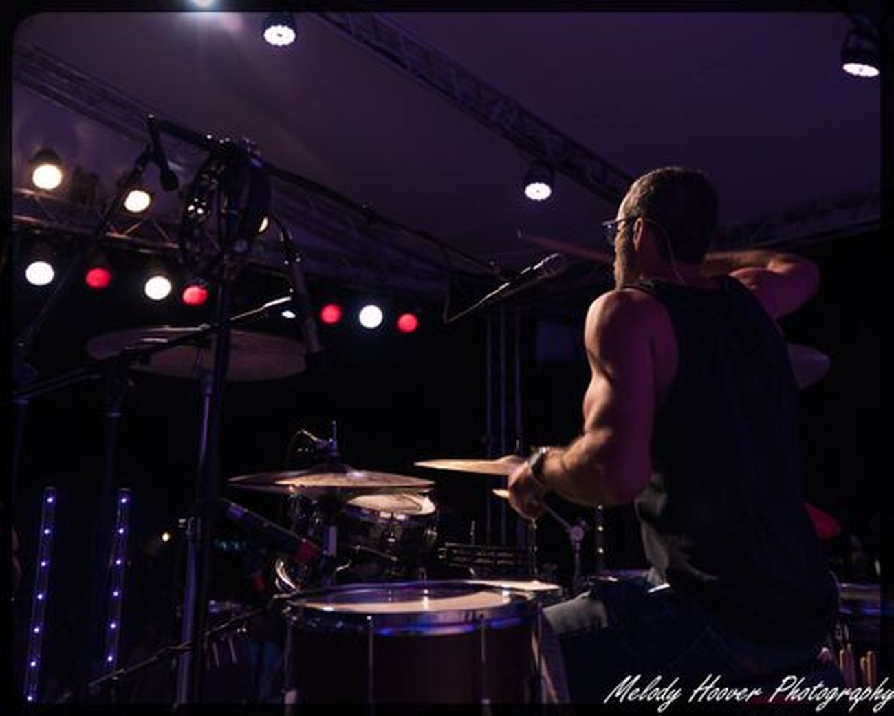 David Aguiar on drums for The Brevet during the final concert of the Levitt AMP summer series in Carson City NV at the Brewery Arts Center.