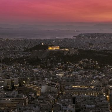 View of the city of Athens from the Licabettus hill
