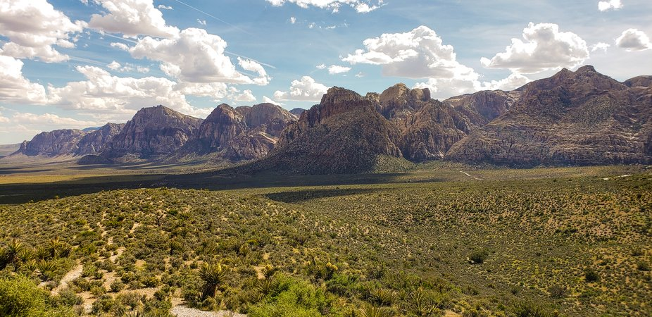 Panoramic of view of Red Rock Canyon mountains in Las Vegas, NV