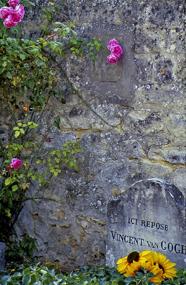 On a hike in France, in the village of Auvers sur Oise, I came upon Van Gough's grave. It was in this village that he shot himself, dying several days later of blood poisoning. Note the plastic sunflower!