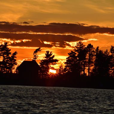 The lake was a bit choppy but the sunset was beautiful.