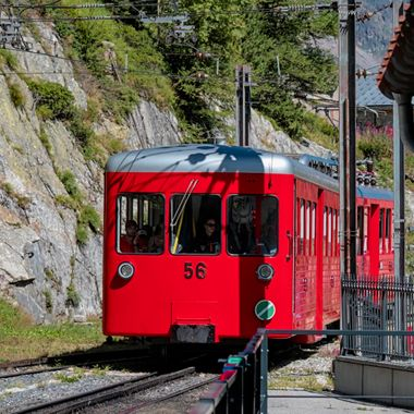 An electric rack and pinion train that runs from the centre of Chamonix to the Montenvers Railway Station which looks out over the glacier called the  Mer de Glace.