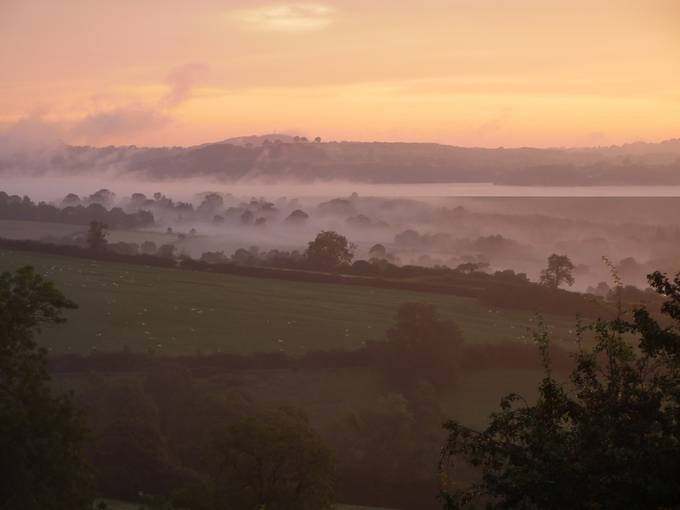 Morning mists in Derbyshire, England.
