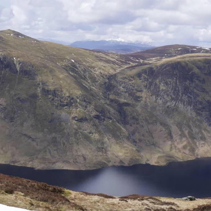 Loch Turret below its surrounding watershed.