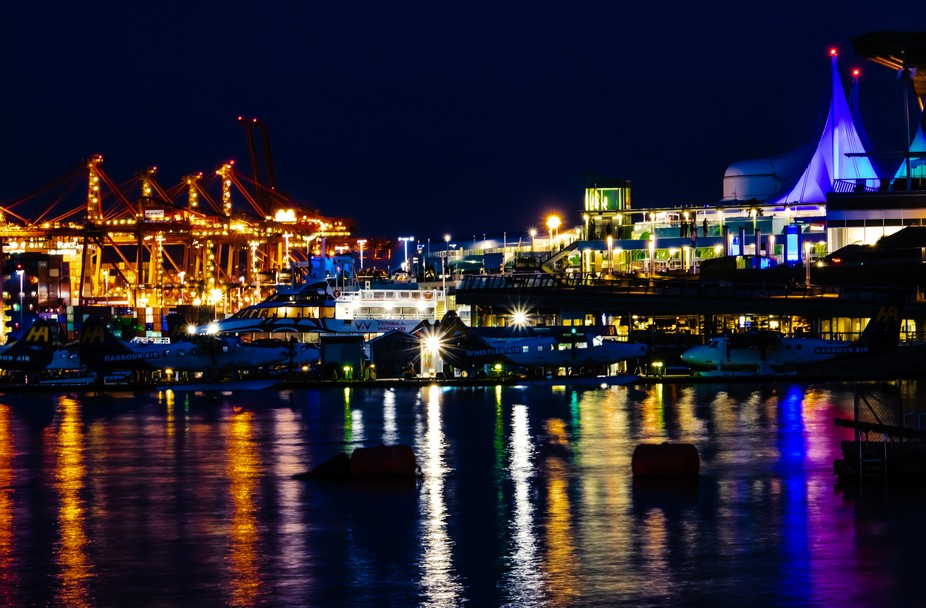 I was inspired by the multiple sources of lighting in this long exposure shot along the water of ...