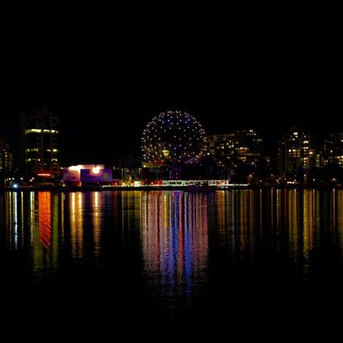 I took a long exposure shot on a nice night across the water from Science World