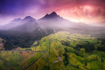 the natural beauty of Indonesia where the mountain range