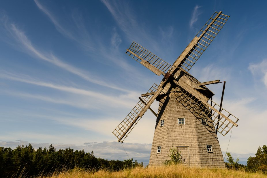 Wooden windmill near Sunnersberg on a summer afternoon in August 2019