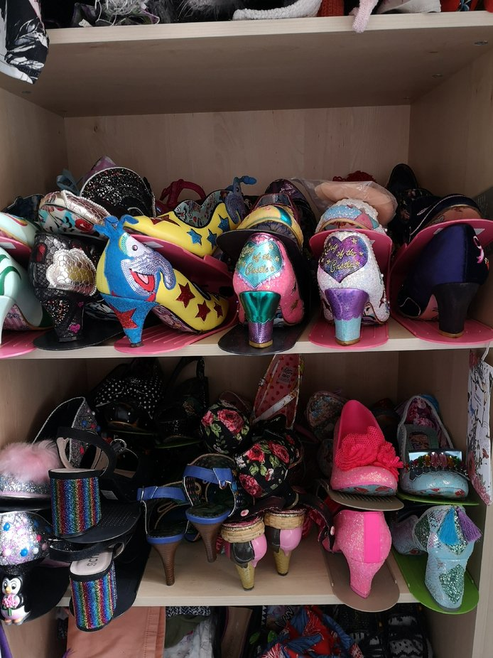 A cupboard full of fancy shoes all from Irregular Choice