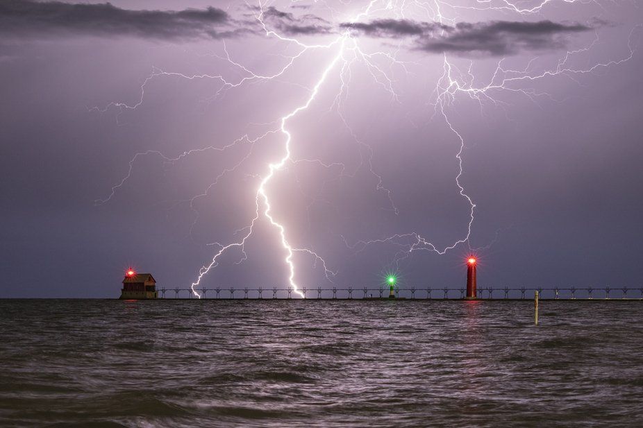 Lightning strikes near the pier in Grand Haven, Michigan.