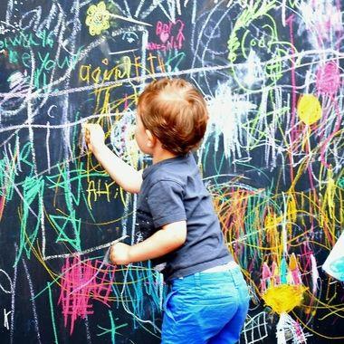 Mom..Can I write on the wall??? yes you can.... YEAAAAAAA!