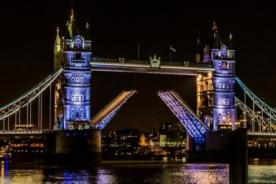 The beautiful london tower bridge at night. This bridge is a wonder to see esspecially when it is lifted to let passing boats through.