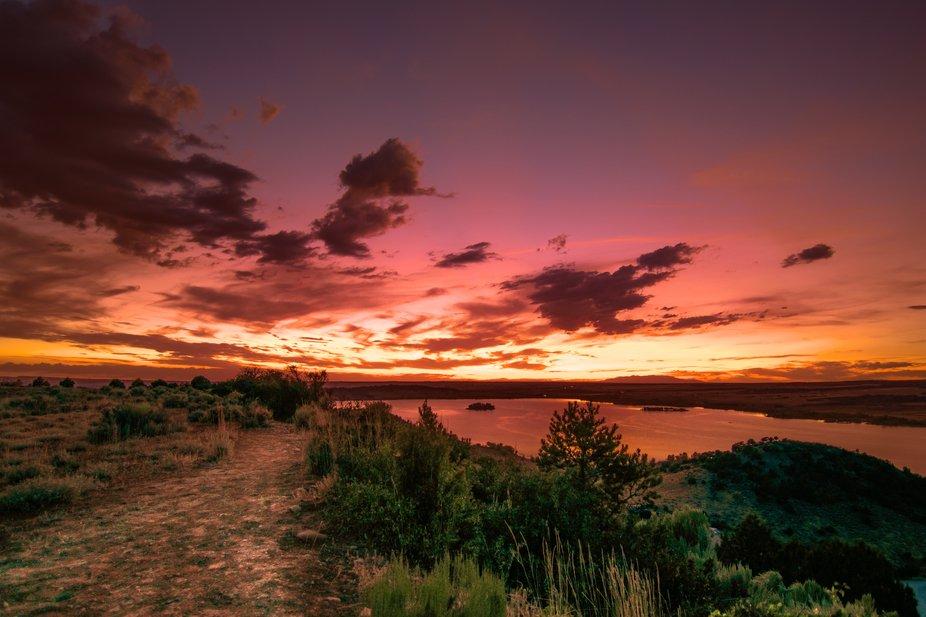 A sunset photo over McPhee Reservoir near Dolores, Colorado