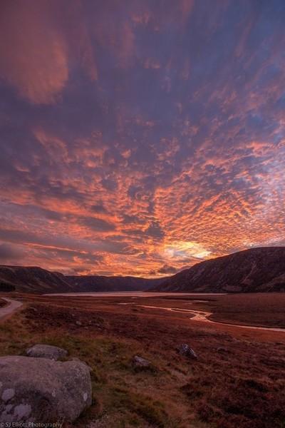 Sunset at Loch Muick, Aberdeenshire, Scotland, UK