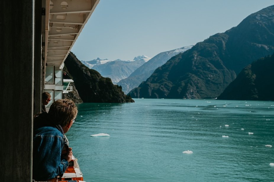 Passing through Tracy Arm Fjord , Alaska in August 2019
