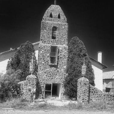b&w of abandoned Hatchita NM Catholic Church