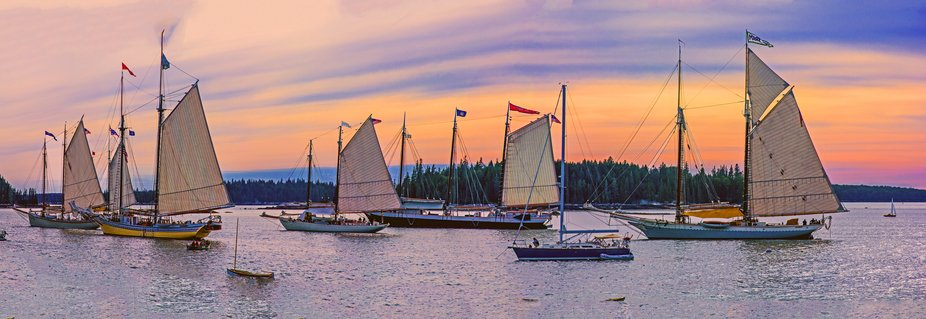Maine schooner fleet in Brooklin harbor at sunset.  Merge of 4 individual photos.