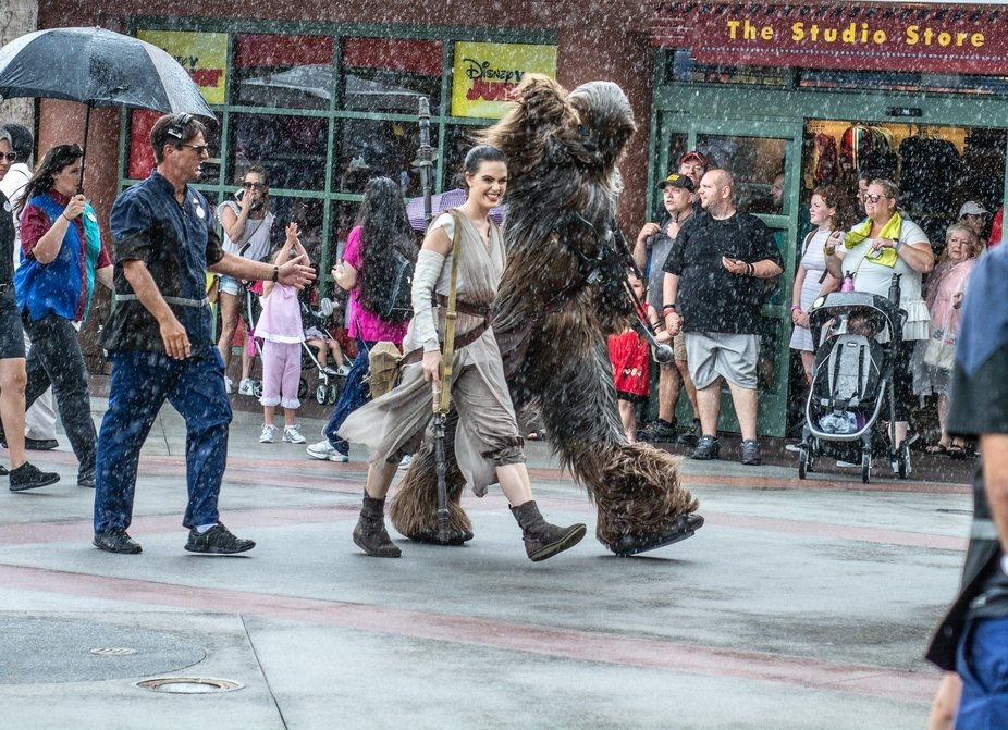 Star Wars Rey and Chewbacca walking through Disney's Hollywood Studios during a down poo...