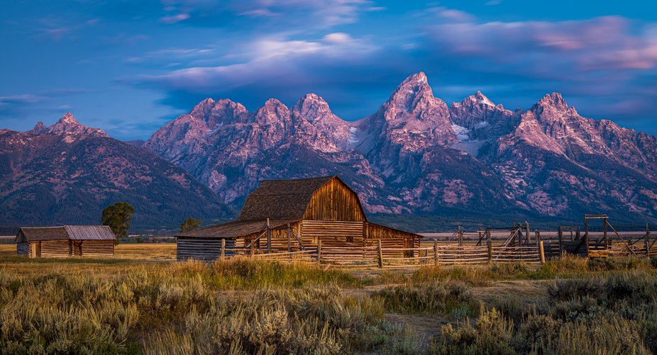 The north barn in Mormon Row Historic District, Grand Teton National Park, Wyoming