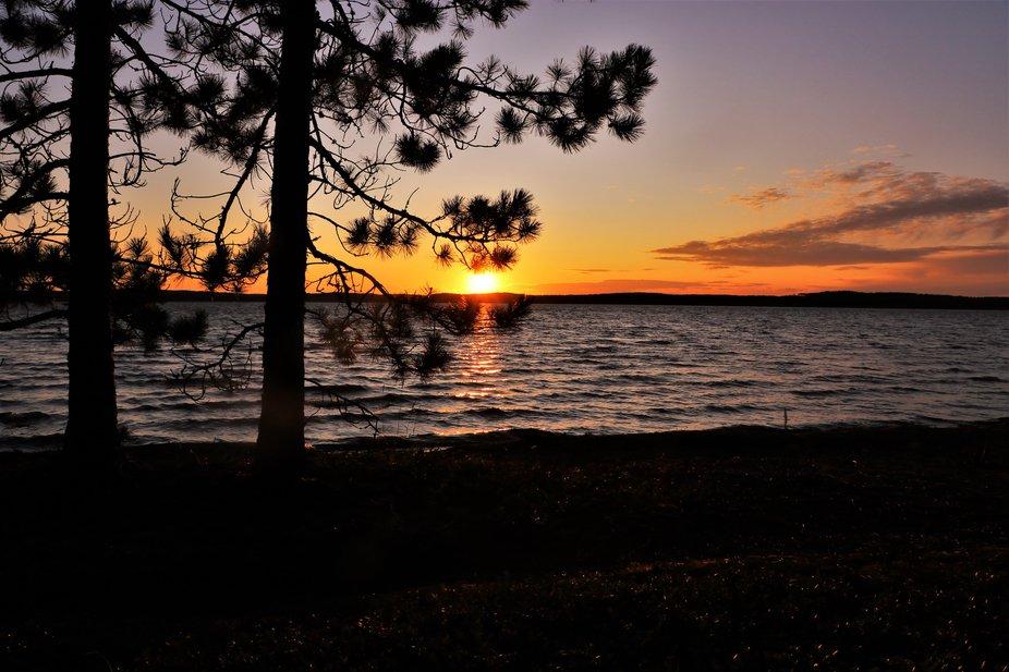 Sunset on a canoe camping trip at Titmarsh Lake,Northwestern Ontario