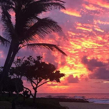 Morning Sunrise over Sandy's beach, Oahu, Hawaii