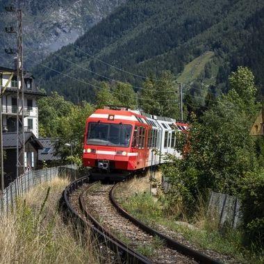 A train passing through Chamonix