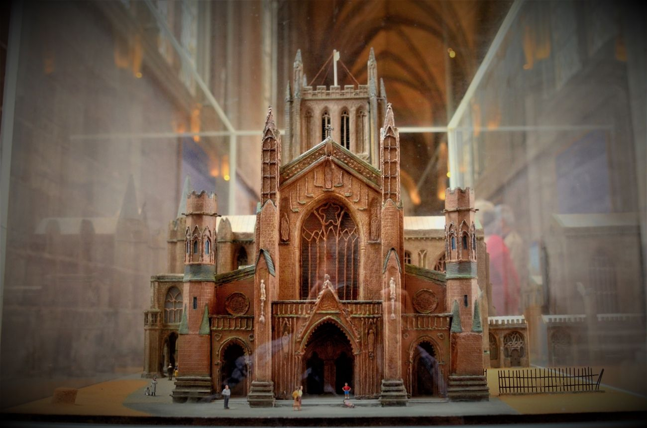 A scale model of the cathedral front view.