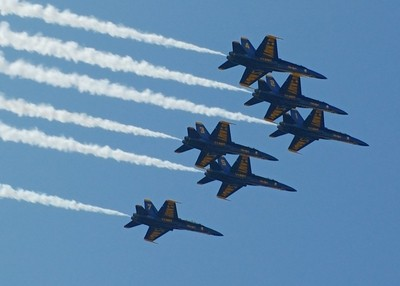 The Blue Angels flyby