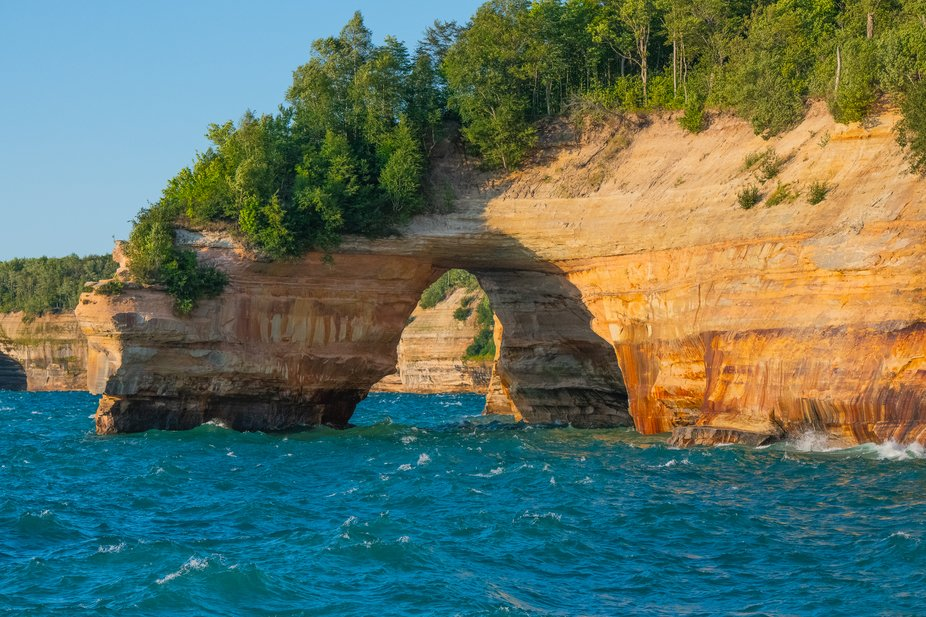 Iconic arch on Lake Superior on Pictured Rocks National Shore.