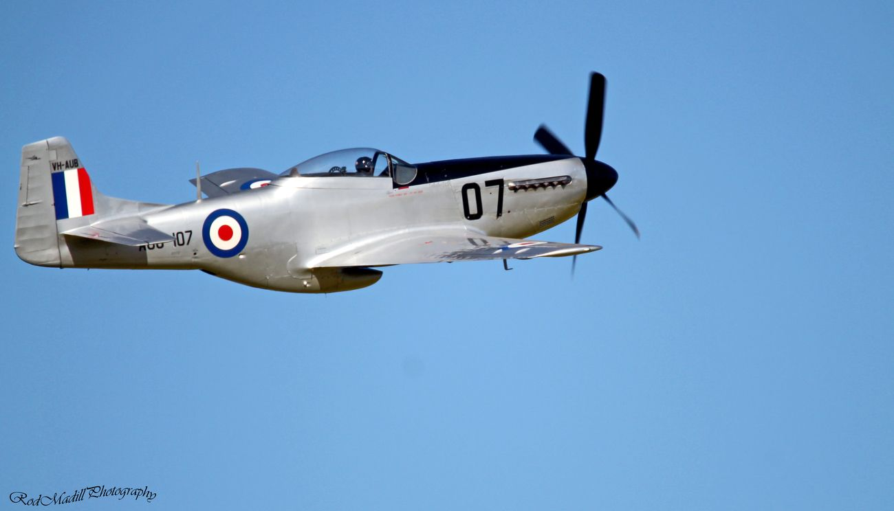 Mustang P51d powered by Rolls Royce Merlin engine.