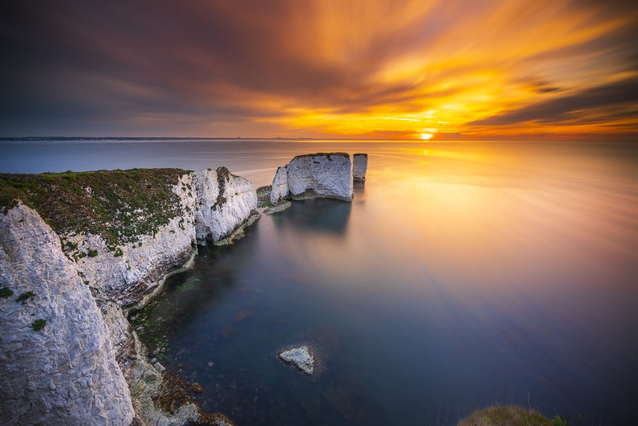 Sunrise fire at Old Harry Rocks