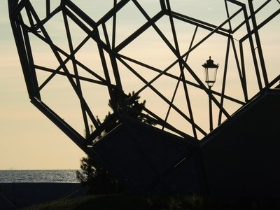 Part of the Giant Soccer Ball in the period of its Assembly. View towards the Gulf of Finland from the GAZ prom arena. St. Petersburg, Krestovsky island.