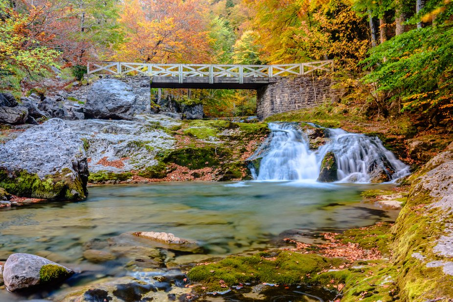 A lovely hiking in the Ordesa National Park, with the beautiful colors of the atumn and the crist...