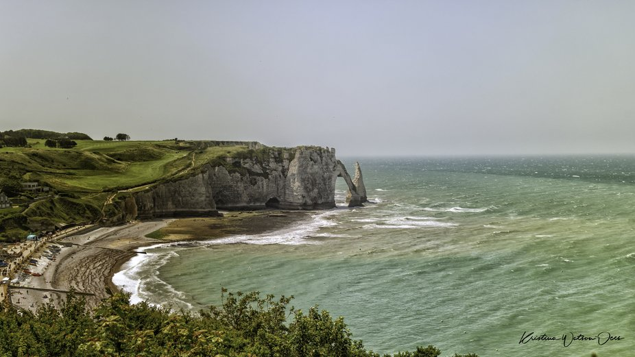 Étretat is a town on the north coast of France. It's known for the striking rock formations ca...