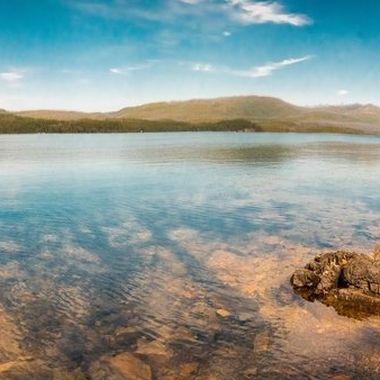 Parnorama of 8 wide angle shots at Mcdonald Lake, MT.