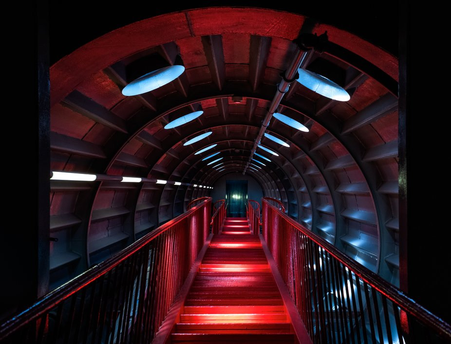 The stairs in the Atomium, Brussels, Belgium, on a scorching hot summer day.    It just happened ...
