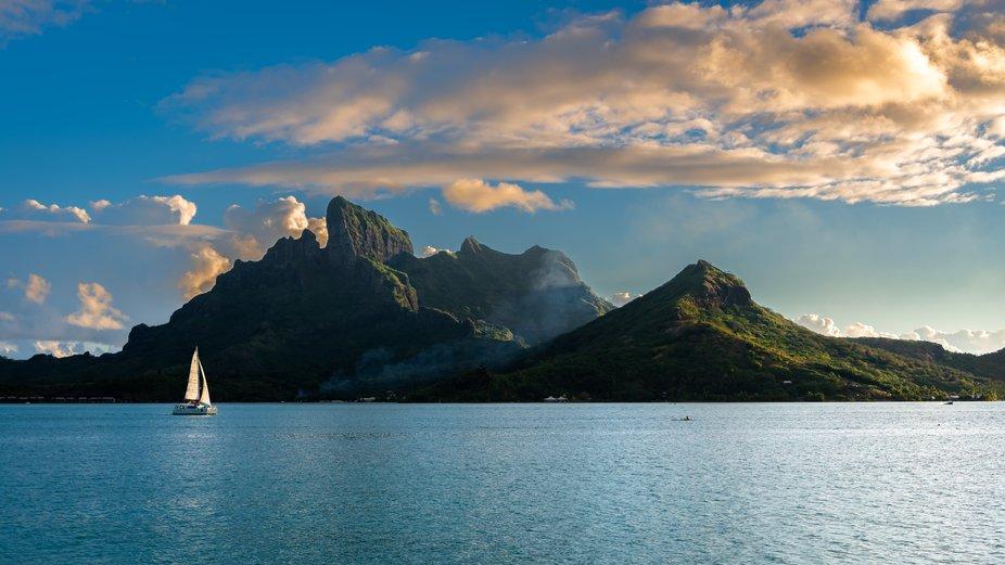 Mt. Otemanu rises through a motu-ringed lagoon to create the island of Bora Bora, one of French P...