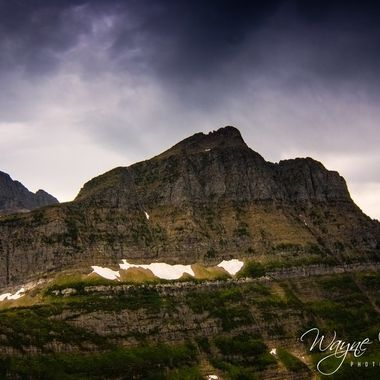 One of the mountains and the melting glaciers at Glacier National Park in Montana.