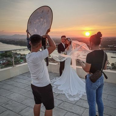 Was lucky enough to be able to capture this particular image of a photo shoot taking place as the sun was setting, when recently visiting Vietnam.