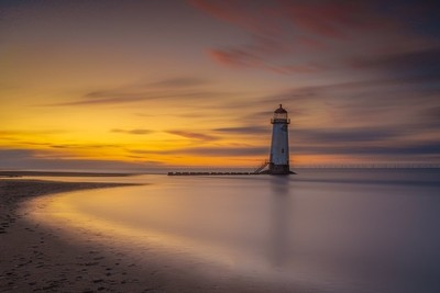 sunset at Point of Ayre Lighthouse