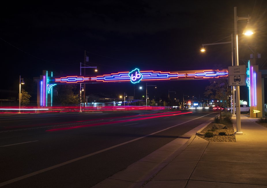 Route 66 at night.