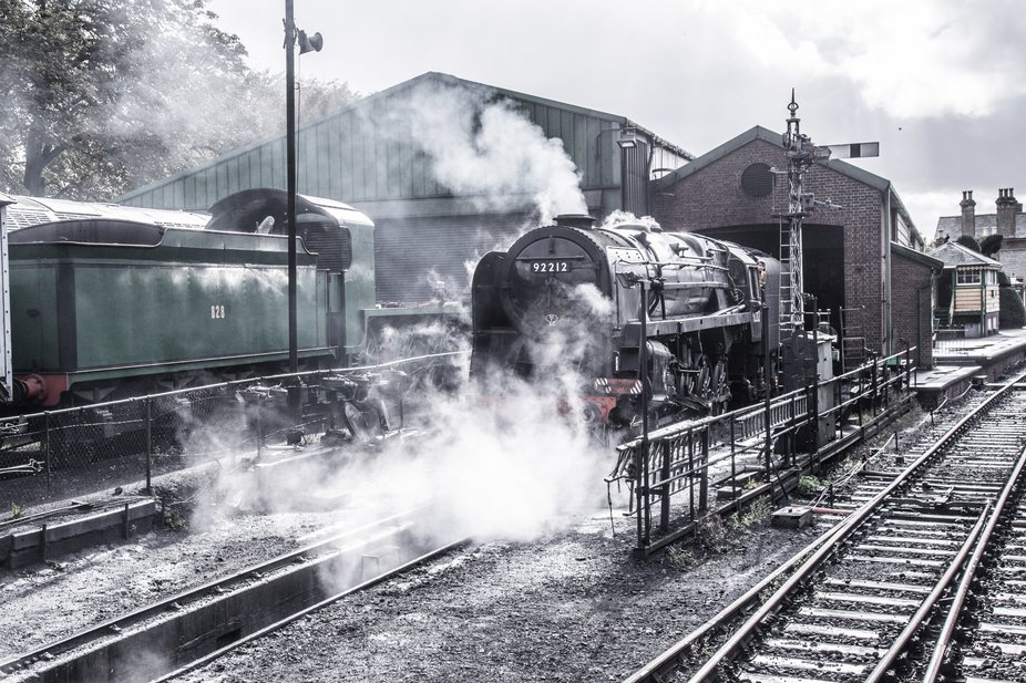 9F, 92212, steaming on shed at Ropley. Unfortunately 92210's boiler certificate expires ...
