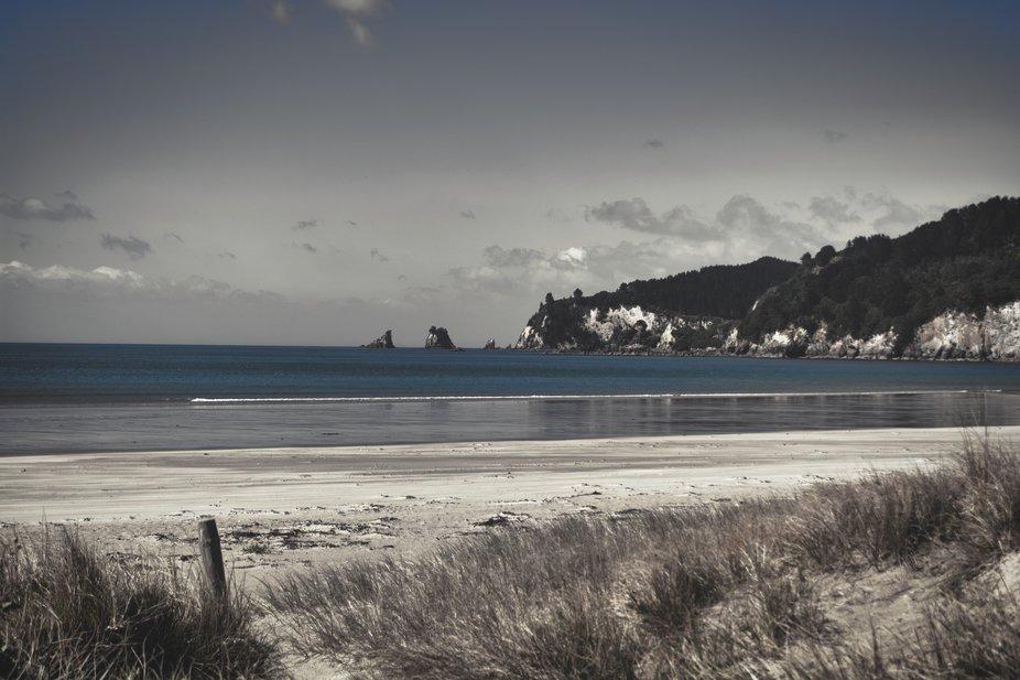 A shot at Whangamata beach looking toward Whiritoa.