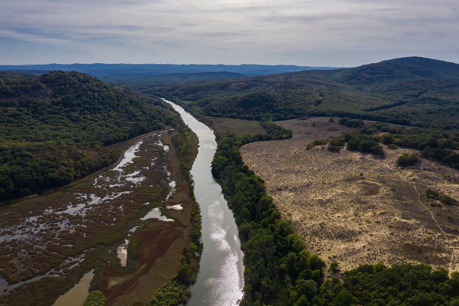 View of drone to the beautiful river Ropotamo in Strandja mountain
